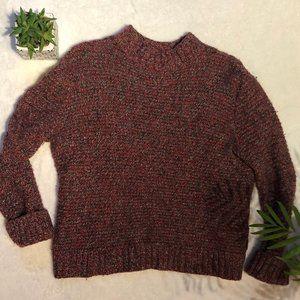 Cozy Heathered Maroon Knit Sweater